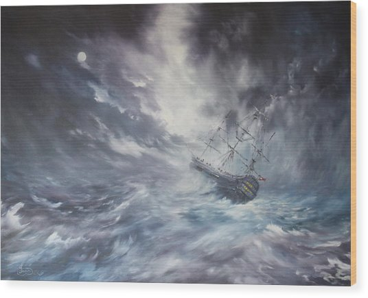The Endeavour On Stormy Seas Wood Print