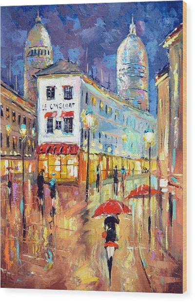 The Evening Lights Of Paris Wood Print
