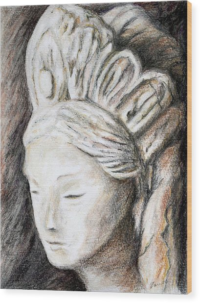 The Face Of Quan Yin Wood Print