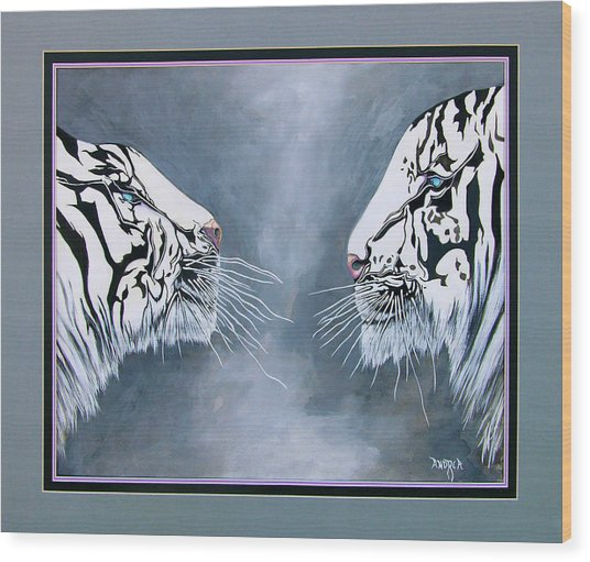 The Face Off Wood Print by Andrea Camp