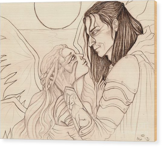 The Faery Maiden And The Knight Sketch Wood Print by Coriander  Shea