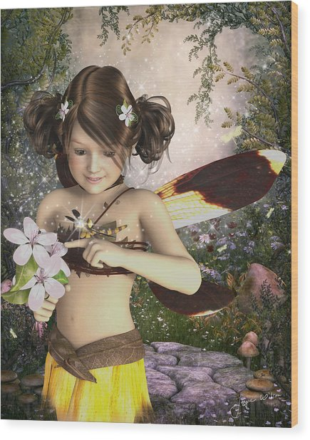 The Fairy And The Dragonfly Wood Print