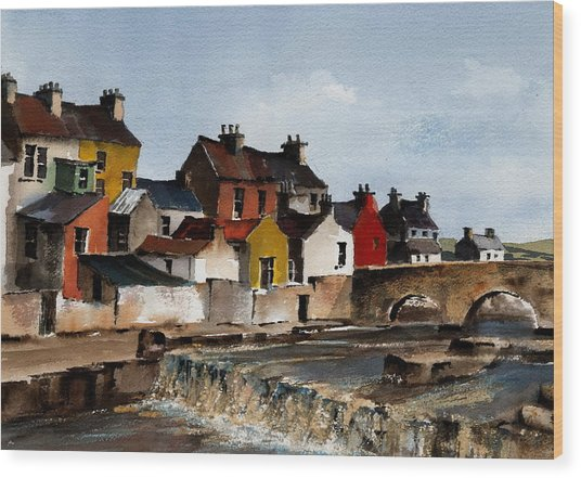 The Falls At Ennistymom Clare Wood Print