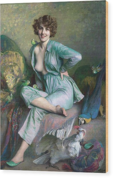Wood Print featuring the painting The Familiar Birds by Emile Friant