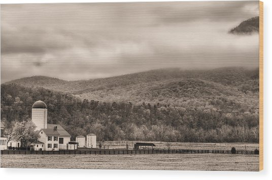 The Family Farm Bw Wood Print by JC Findley