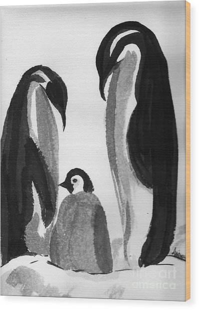 Happy Feet -the Family Of Penguins Wood Print