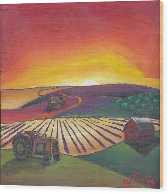 'the Farm' Wood Print