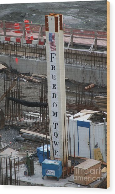 The First Beam Of The Freedom Tower Wood Print