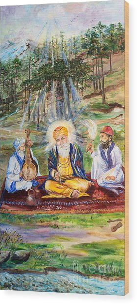 The First Guru Wood Print