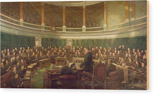 The First Meeting Of The London County Council In The County Hall, Spring Gardens Wood Print
