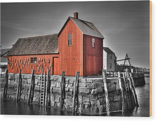 The Fishing Shack Wood Print