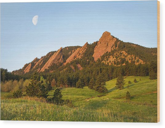 The Flatirons - Spring Wood Print