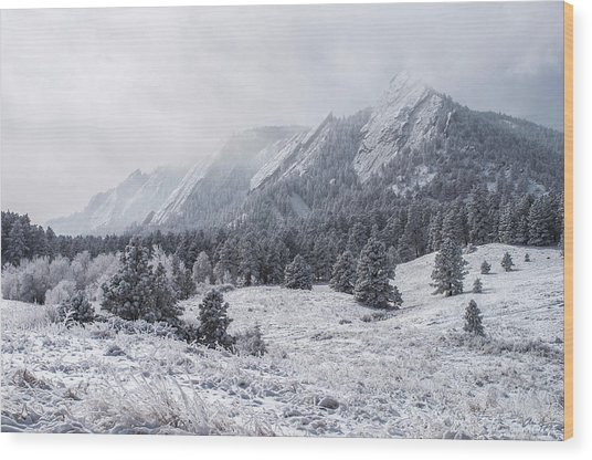 The Flatirons - Winter Wood Print