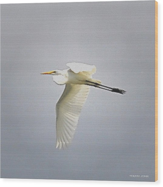 The Flight Of The Great Egret With The Stained Glass Look Wood Print
