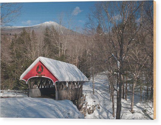 The Flume Bridge In Winter Wood Print