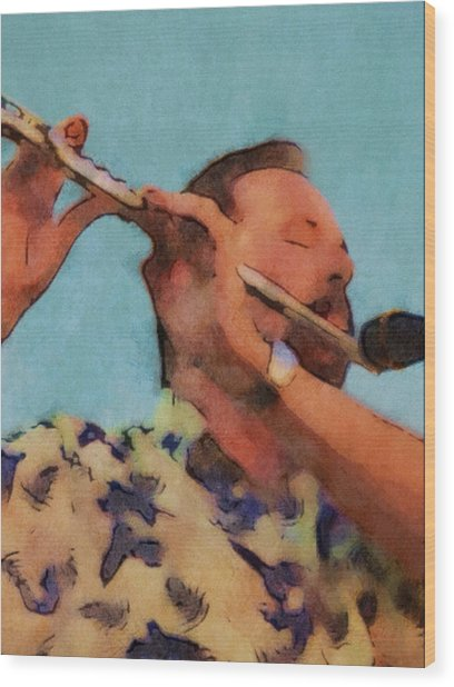 The Flute Player Wood Print