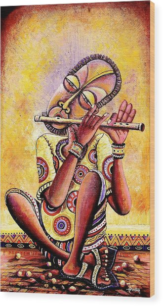 The Flutist Wood Print