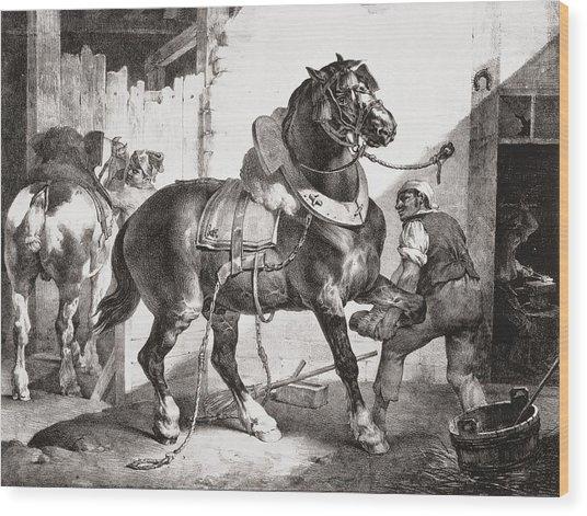 The Forge, From Etudes De Cheveaux, 1822 Wood Print