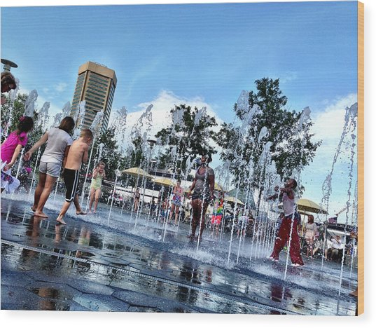 The Fountains At The Inner Harbor Wood Print