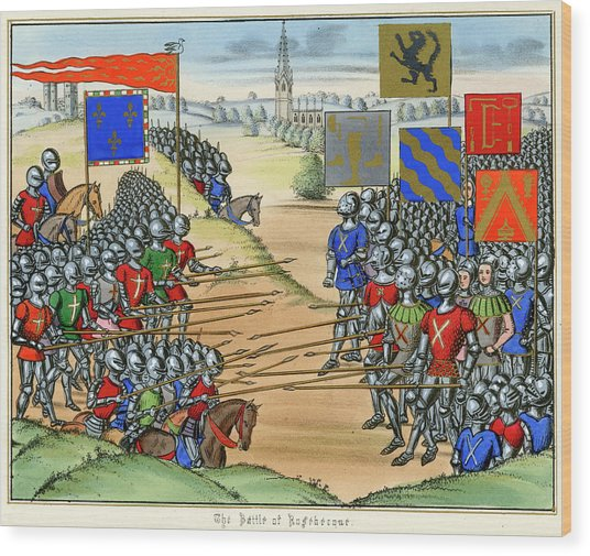 The French Defeat The Flemish Wood Print by Mary Evans Picture Library