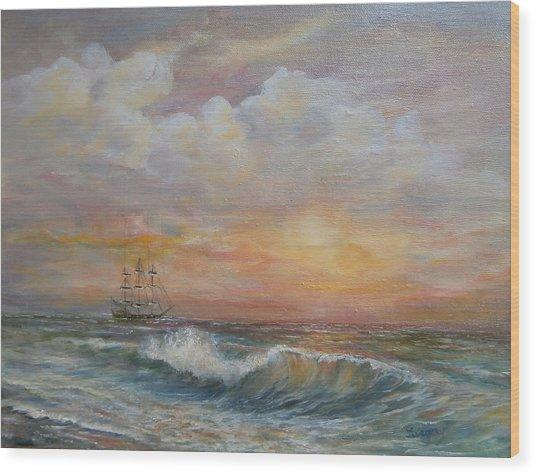 Sunlit  Frigate Wood Print