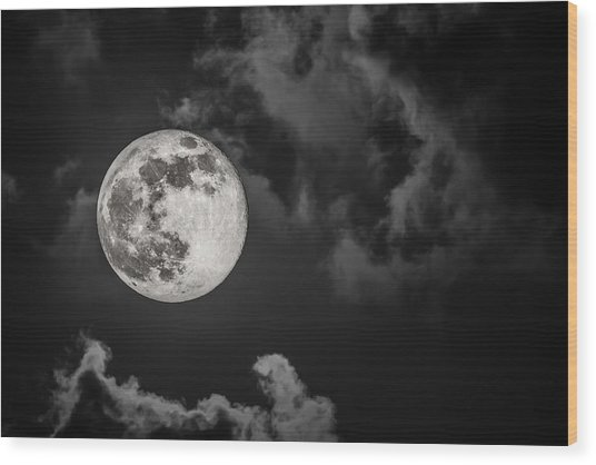The Full Moon Is Calling Wood Print