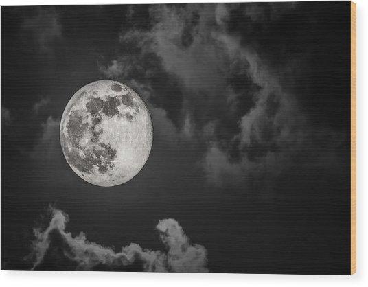 The Full Moon Is Calling Wood Print