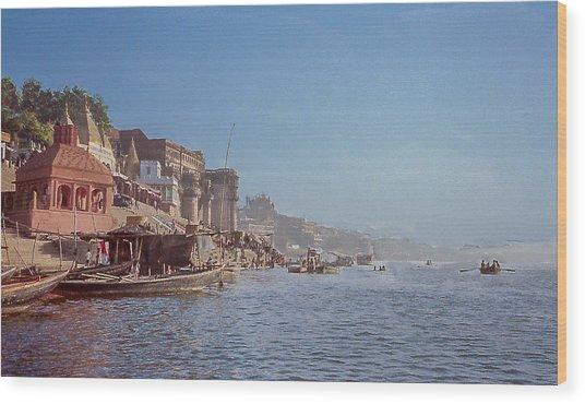 The Ganges River At Varanasi Wood Print