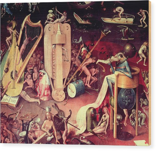 The Garden Of Earthly Delights Hell, Detail From The Right Wing Of The Triptych, C.1500 Oil Wood Print