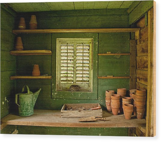 Wood Print featuring the photograph The Gardener's Shed by Kristia Adams