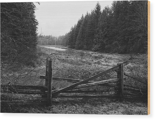 The Gate In Black And White Wood Print