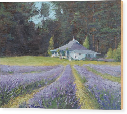 The Gatehouse Store Lavender Farm Wood Print by Ron Wilson