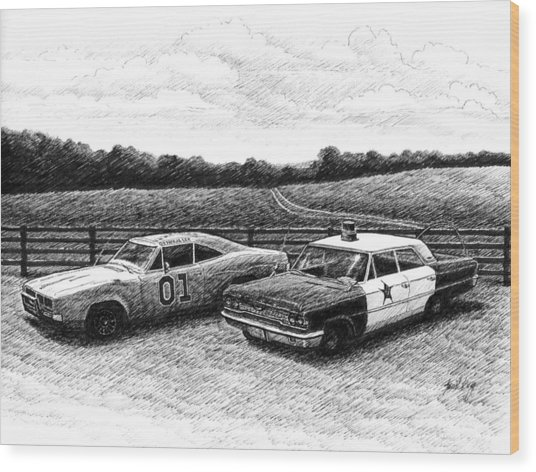 The General Lee And Barney Fife's Police Car Wood Print