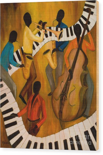 The Get-down Jazz Quintet Wood Print