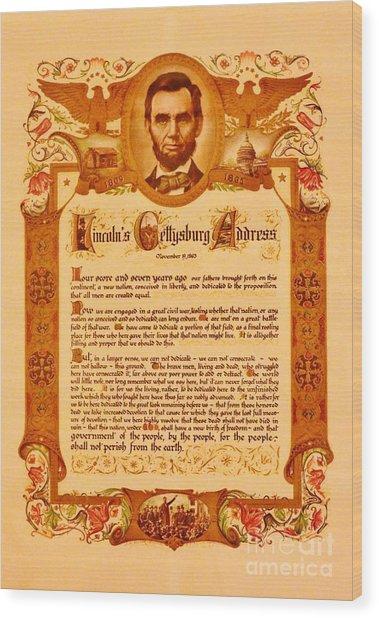 The Gettysburg Address Wood Print