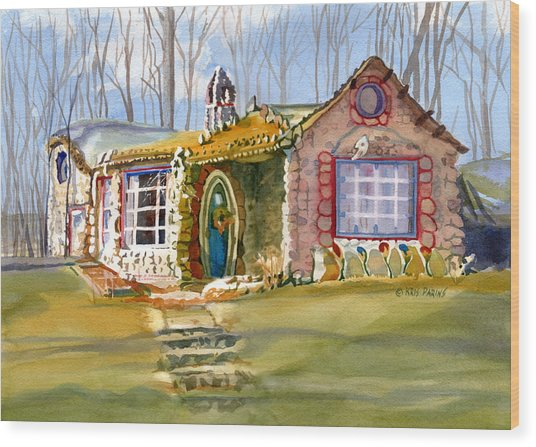The Gingerbread House Wood Print