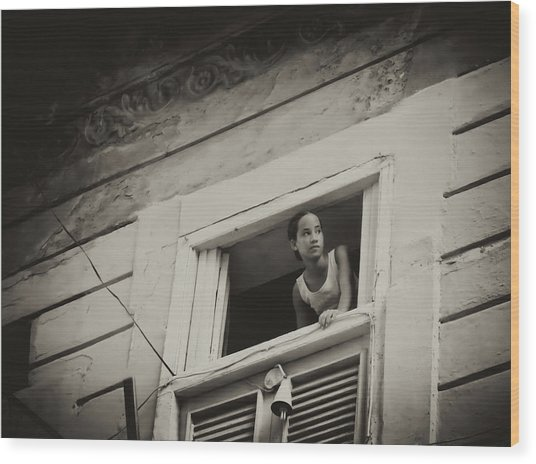 Wood Print featuring the photograph The Girl In The Window by Gigi Ebert