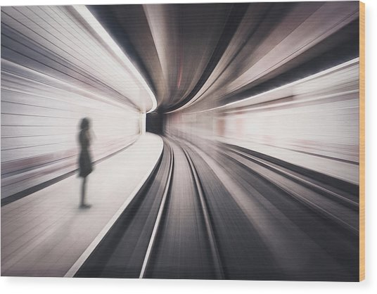 The Girl Of The Metro Station Wood Print