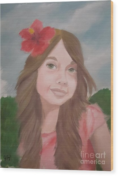 The Girl With The Red Flower II Wood Print by Angela Melendez