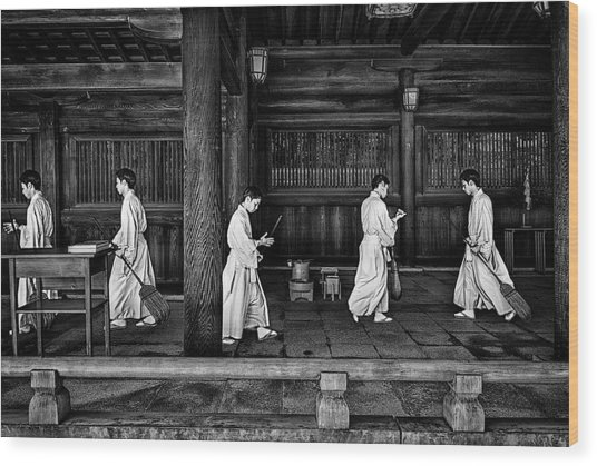 The Going And The Being Back Of A Monk In The Sweeping Of The Temple (tokio) Wood Print