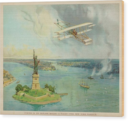 The 'gold Bug' Biplane  Designed Wood Print by Mary Evans Picture Library