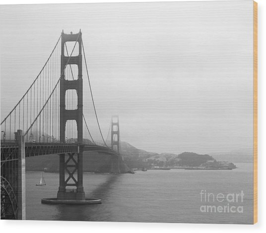 The Golden Gate Bridge In Classic B W Wood Print