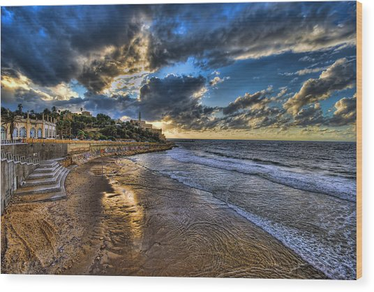 the golden hour during sunset at Israel Wood Print