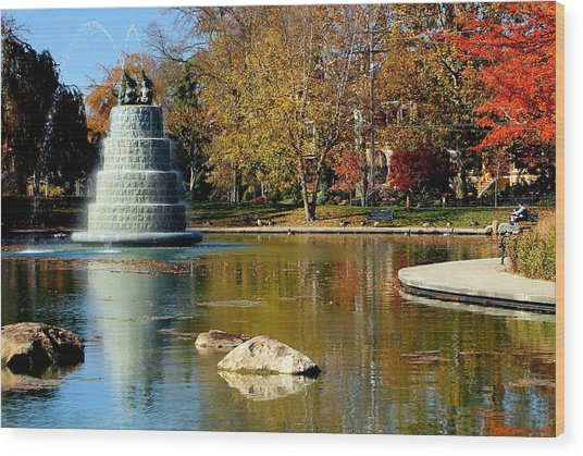 The Goodale Park  Fountain Wood Print