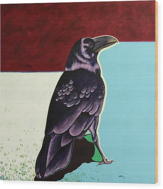 The Gossip - Raven Wood Print by Joe  Triano