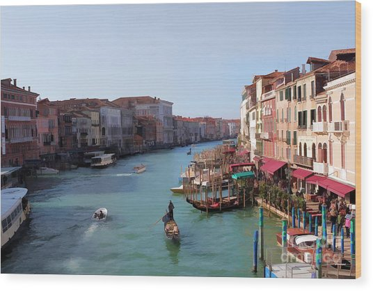 The Grand Canal Venice Oil Effect Wood Print