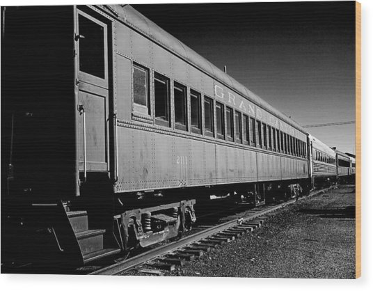 The Grand Canyon Express 1 Black And White Wood Print