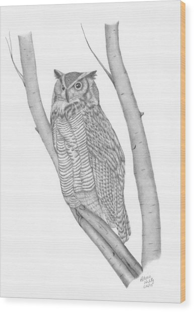 The Great Horned Owl Watches Wood Print