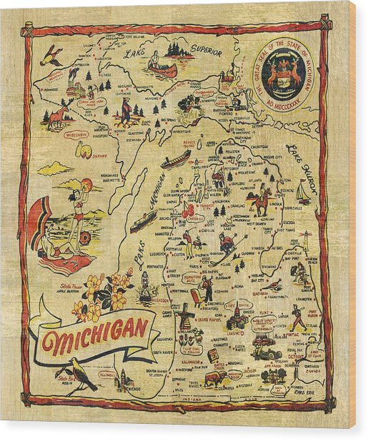 The Great Lakes State Wood Print
