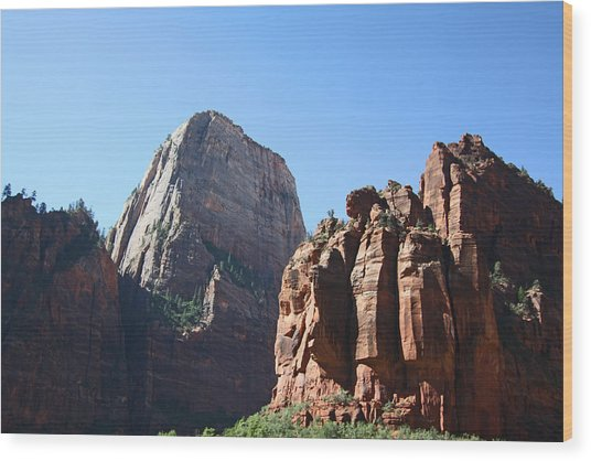 The Great White Throne In Zion National Park Wood Print